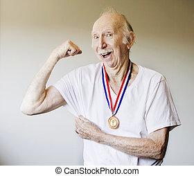 3º edad, ganador, medalla, ciudadano