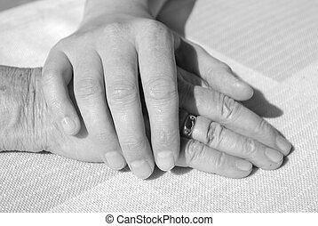 3º edad, manos, mujer, comodidad, joven