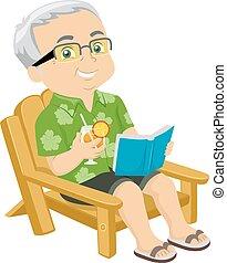 3º edad, silla de la playa, hombre