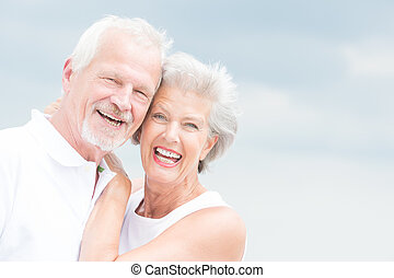 3º edad, sonriente, pareja