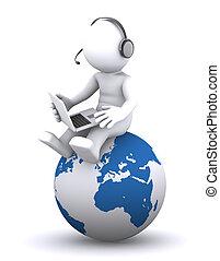 3o personaje con portátil sentado en el globo