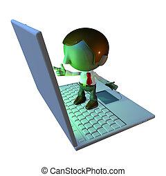 3o personaje de negocios parado en la laptop
