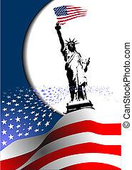 """4 de julio: """"Día de independencia de los Estados Unidos de América"""". bandera americana con imagen de águila. Vector"""