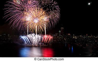 4 de julio fuegos artificiales en Boston