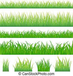 4 fondos de hierba verde y 4 mechones de hierba