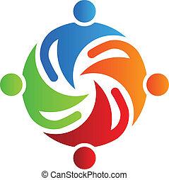 4, juntos, logotipo, equipo, vector