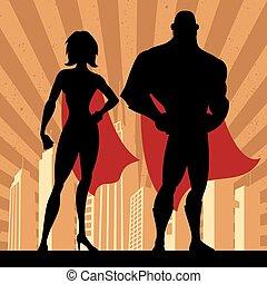 4, superhero, pareja