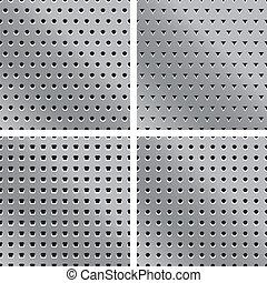 4 texturas de metal con agujeros