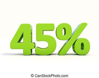 45%, tasa, plano de fondo, blanco, porcentaje, icono