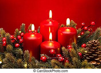 4o arreglo de velas rojas