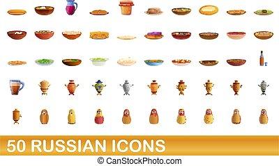 50, conjunto, ruso, iconos, estilo, caricatura
