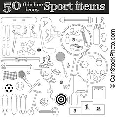 50 iconos deportivos de línea delgada.