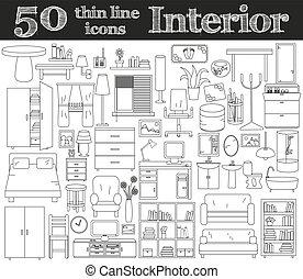 50 iconos para Interior. Línea delgada.