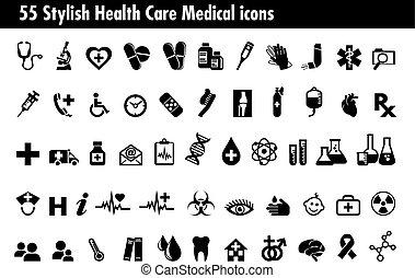 55 iconos con estilo de salud médica
