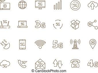 5g iconos. Internet móvil inalámbrico de seguridad 4g señal de telecomunicación nueva tecnología vectores de vectores wifi libres
