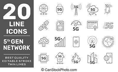 5g, radio, línea, set., nuevo, eps, iconos, vector, internet, stroke., señal, telecomunicación, 10, móvil, seguridad, tecnología, editable, symbols.