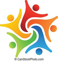6, éxito, equipo, logotipo