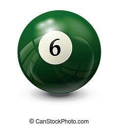 6, bola de billar