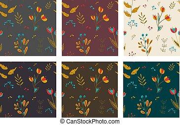6, flores, conjunto, primavera, patrones, seamless, plano de fondo