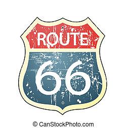 66, roadsign, ruta, grunge