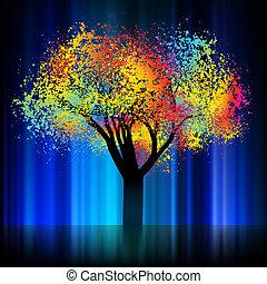 8, árbol., eps, colorido, noche