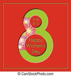 8 de marzo feliz día de las mujeres colorida tarjeta de felicitación floral