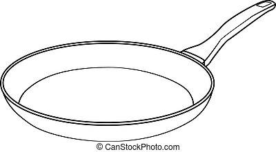 8., drawing., aislado, ilustración, eps, vector, freír, caricatura, cacerola