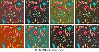 8, flores, conjunto, primavera, patrones, seamless, plano de fondo