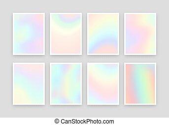 8, holographic, realista, fondos, design., colores, conjunto, diferente