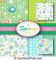 8 patrones de vector de primavera; sin marcas