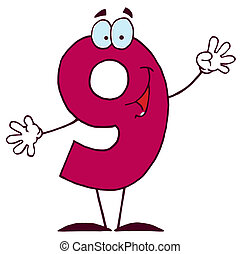 9, feliz, carácter, números, caricatura