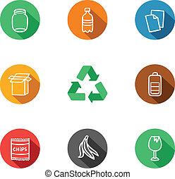9, reciclaje, materiales, colección, iconos