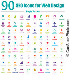 90 iconos SEO para diseños en Internet simples