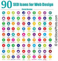 90 iconos SEO para el círculo de diseño