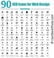 90 iconos SEO para el diseño de la web V negro