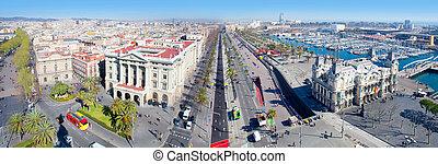 aéreo, barcelona, panorámico, dos puntos, passeig, puerto, vista
