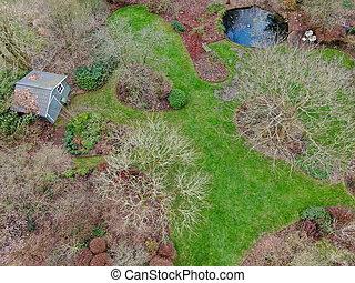 aéreo, jardín invierno, durante, vista, tipo, season., inglés