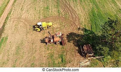 aéreo, zángano, de par en par, agricultura, marrón, campo, combinar, segadores, vista