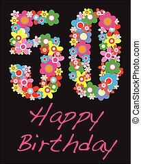 año, cumpleaños, cincuenta, feliz