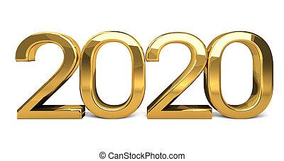 año, diseño, 2020, dorado, render, 3d