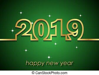 año, feliz, fondo., nuevo, 2019