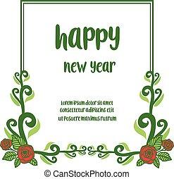 año, feliz, lugar, nuevo, rosa, su, papel pintado, vector, frame., rojo, texto, patrón, floral