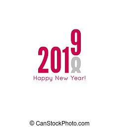 año, feliz, nuevo, 2019, creativo