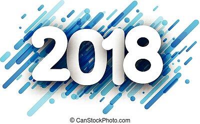 año, fondo., nuevo, 2018, azul