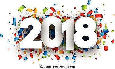 año, fondo., nuevo, festivo, 2018
