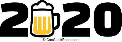 año, jarro de cerveza, 2020