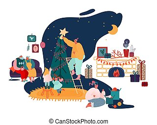 año, navidad, familia , alegre, chimenea, padres, conjunto, navidades presenta, estación, decorar, scenes., villancicos, cantar, niños, ilustración, nuevo, vector, invierno, embalaje, árbol, celebración