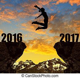 año, nuevo, 2017, niña, saltos