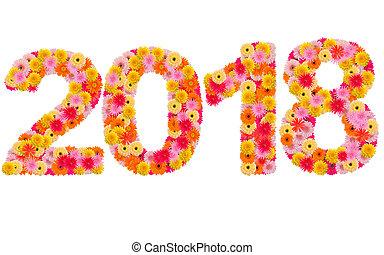 Año nuevo 2018 hecho de flores gerbera aisladas en fondo blanco