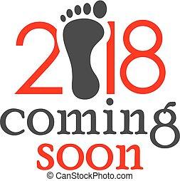 Año nuevo 2018 llegando pronto la tarjeta vectorial